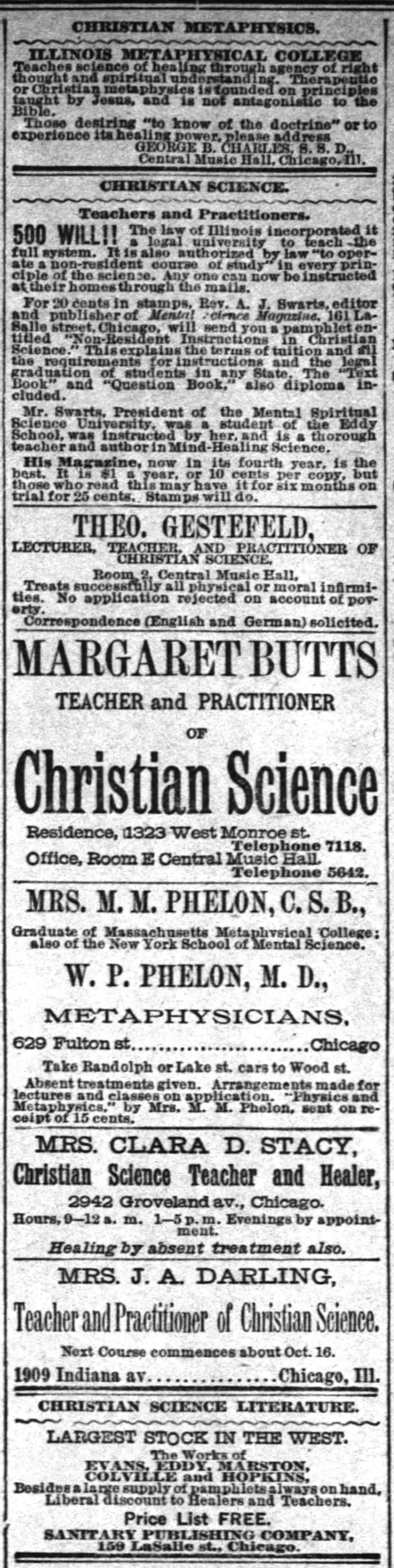 Her Pathological System: Christian Science in Chicago 1882-1887 ...